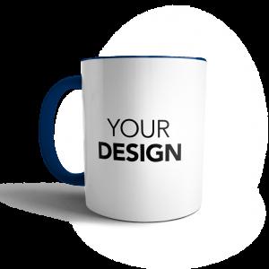 custom mug blue handle & inner