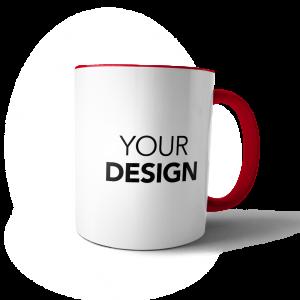 custom mug red handle & inner
