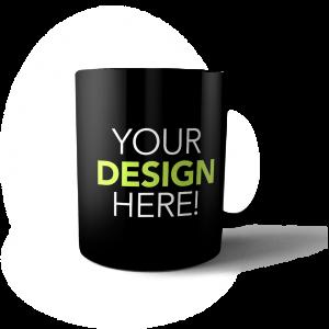 custom design black mug