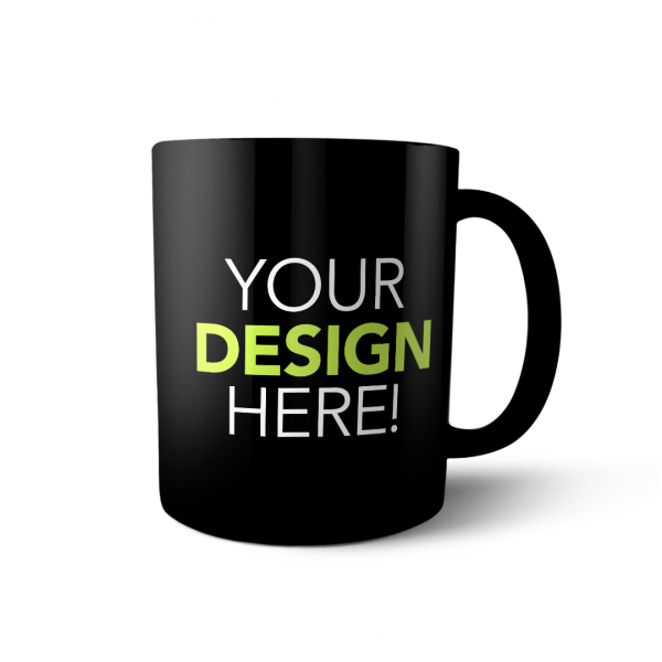 custom design black mug